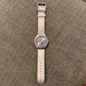 White Automatic Swatch with Crystals, Like new!